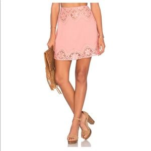 For Love And Lemons Pink Lace Mini A-Line Skirt